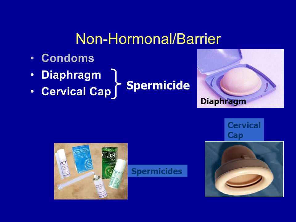 Non-Hormonal/Barrier Condoms Diaphragm Cervical Cap Diaphragm Cervical Cap Spermicide Spermicides