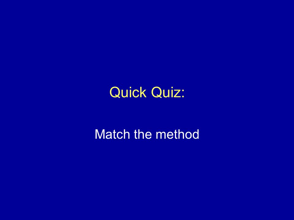 Quick Quiz: Match the method