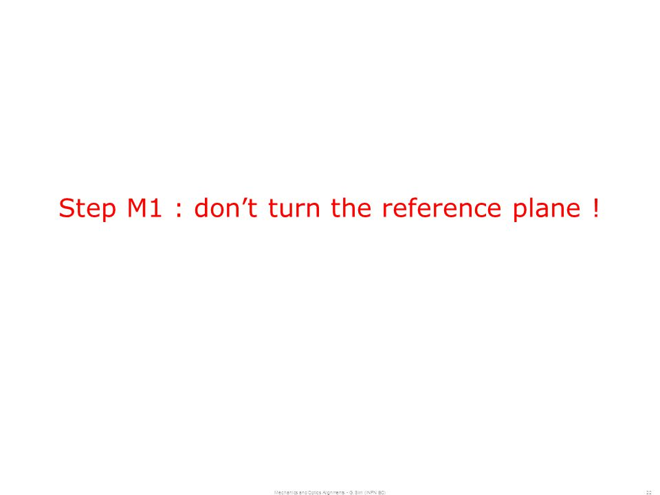 Mechanics and Optics Alignments - G. Sirri (INFN BO)22 Step M1 : don't turn the reference plane !