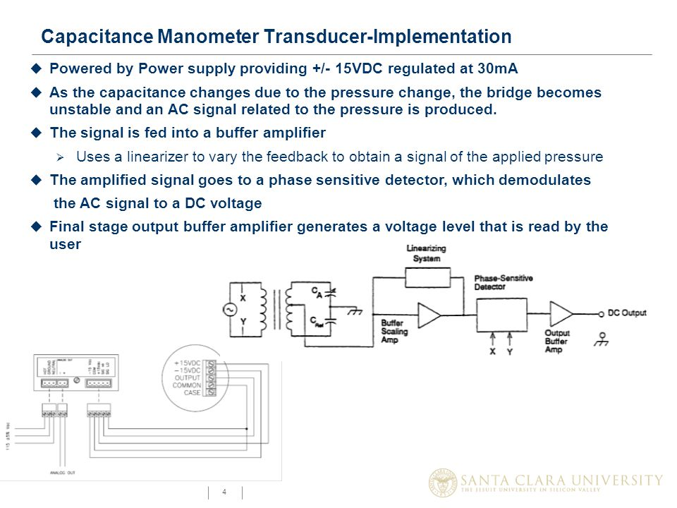 4 Capacitance Manometer Transducer-Implementation u Powered by Power supply providing +/- 15VDC regulated at 30mA u As the capacitance changes due to the pressure change, the bridge becomes unstable and an AC signal related to the pressure is produced.