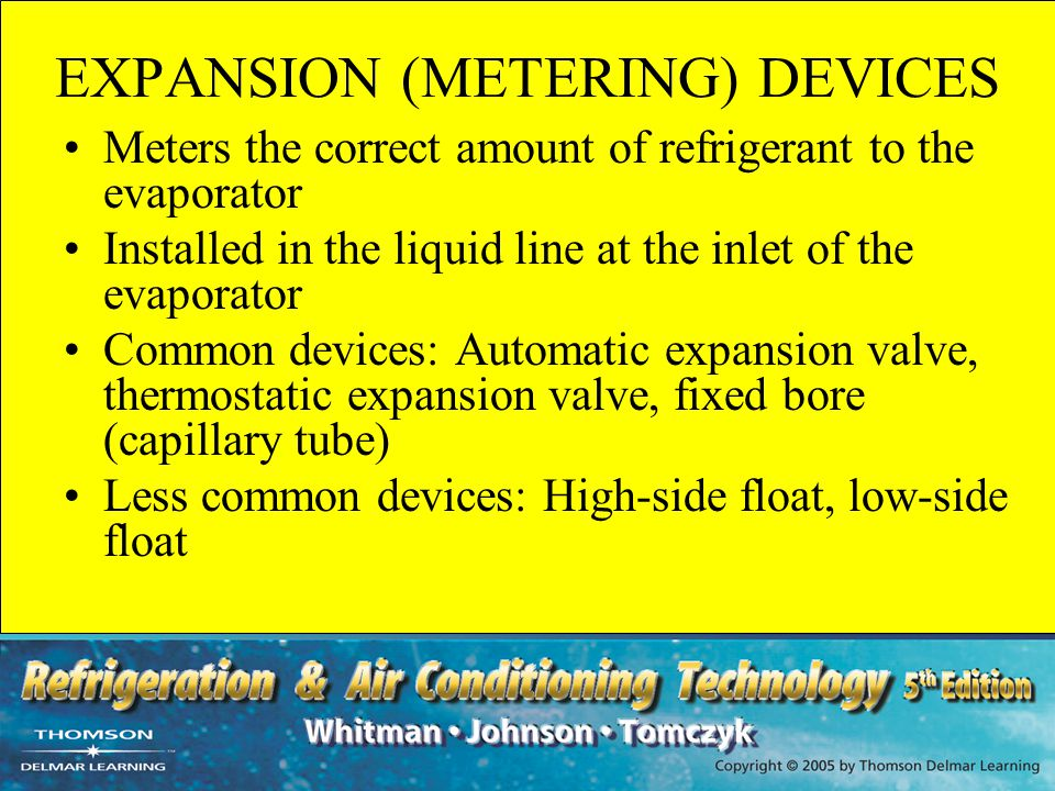 AUTOMATIC EXPANSION VALVE RESPONSE TO LOAD CHANGES Responds in reverse to load changes If the load increases –Refrigerant boils faster in the evaporator –The evaporator pressure increases –The valve closes Used where the load is fairly constant