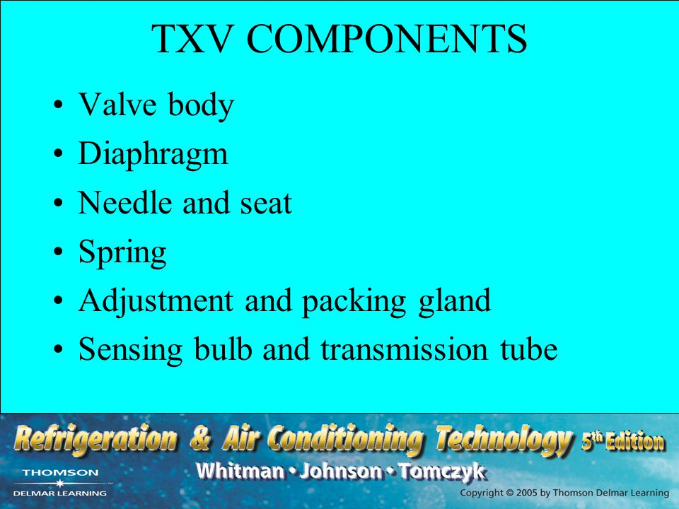 UNIT SUMMARY - 2 Three pressures control the operation of the TXV: the bulb pressure, the spring pressure and the evaporator pressure Thermal bulb can be liquid-charged, vapor-charged, cross liquid-charged, or cross vapor-charged Internally equalized TXVs get the evaporator pressure from the inlet of the coil, while externally equalized TXVs get the evaporator pressure from the outlet of the coil