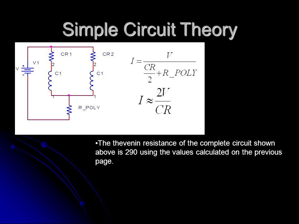 Simple Circuit Theory The thevenin resistance of the complete circuit shown above is 290 using the values calculated on the previous page.