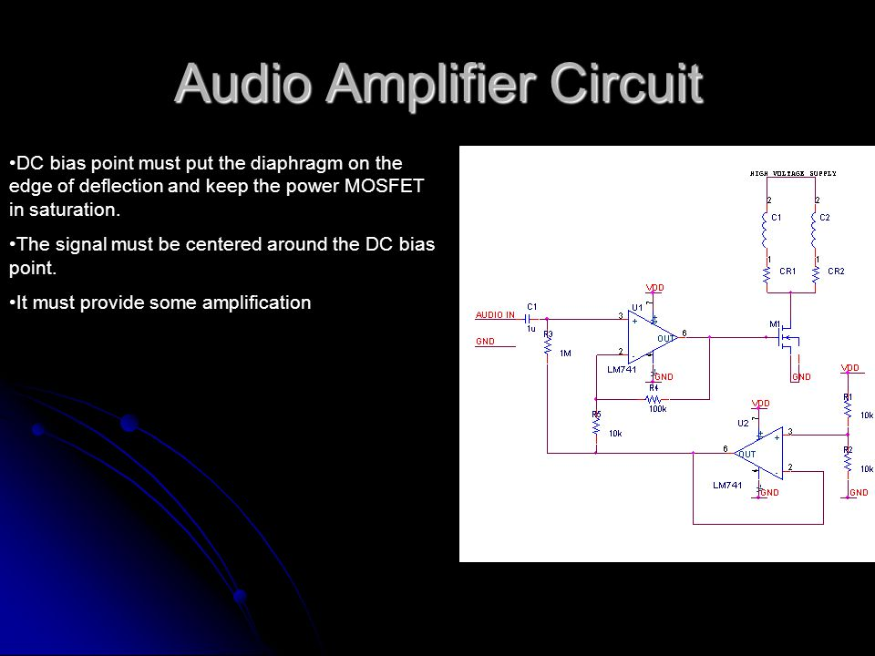 Audio Amplifier Circuit DC bias point must put the diaphragm on the edge of deflection and keep the power MOSFET in saturation.