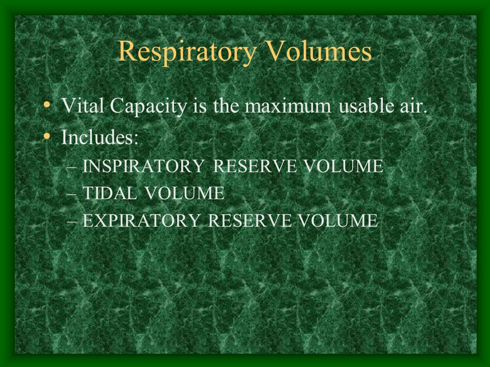 Respiratory Volumes Vital Capacity is the maximum usable air.