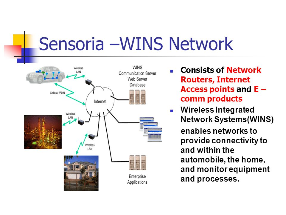 Sensoria –WINS Network Consists of Network Routers, Internet Access points and E – comm products Wireless Integrated Network Systems(WINS) enables networks to provide connectivity to and within the automobile, the home, and monitor equipment and processes.