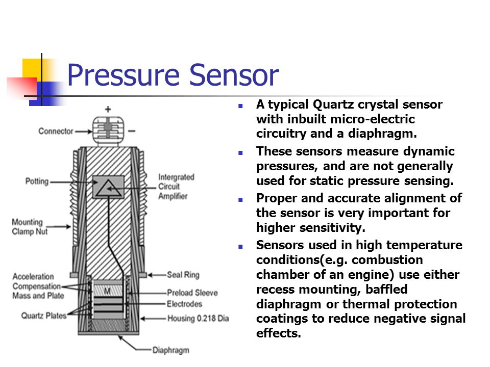 Pressure Sensor A typical Quartz crystal sensor with inbuilt micro-electric circuitry and a diaphragm.