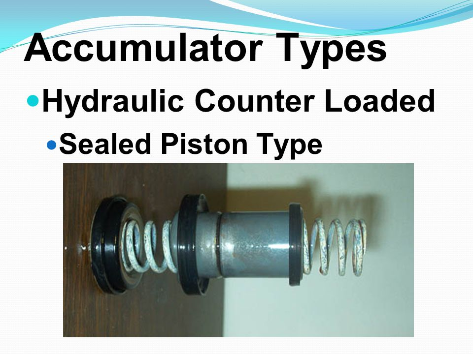 Accumulator Types Hydraulic Counter Loaded Sealed Piston Type