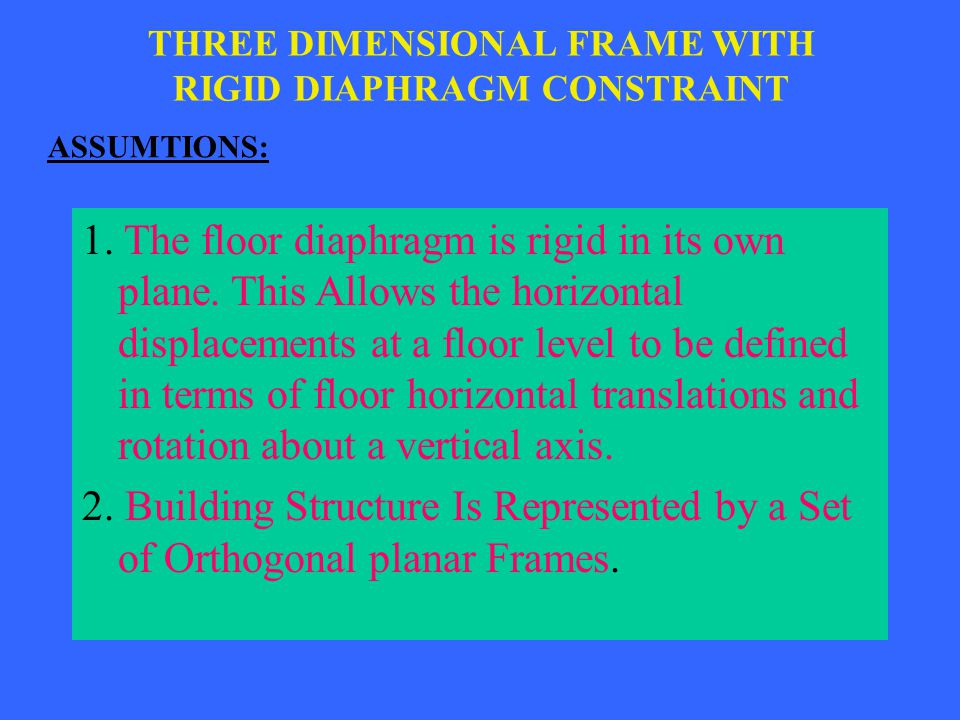 THREE DIMENSIONAL FRAME WITH RIGID DIAPHRAGM CONSTRAINT ASSUMTIONS: 1. The floor diaphragm is rigid in its own plane. This Allows the horizontal displ