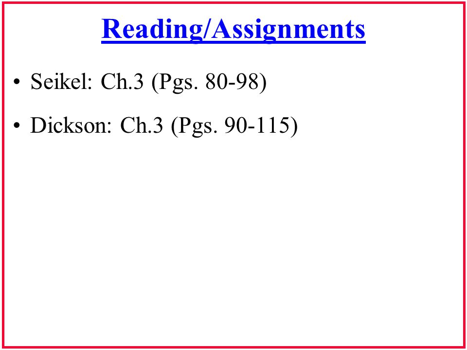 Reading/Assignments Seikel: Ch.3 (Pgs. 80-98) Dickson: Ch.3 (Pgs. 90-115)
