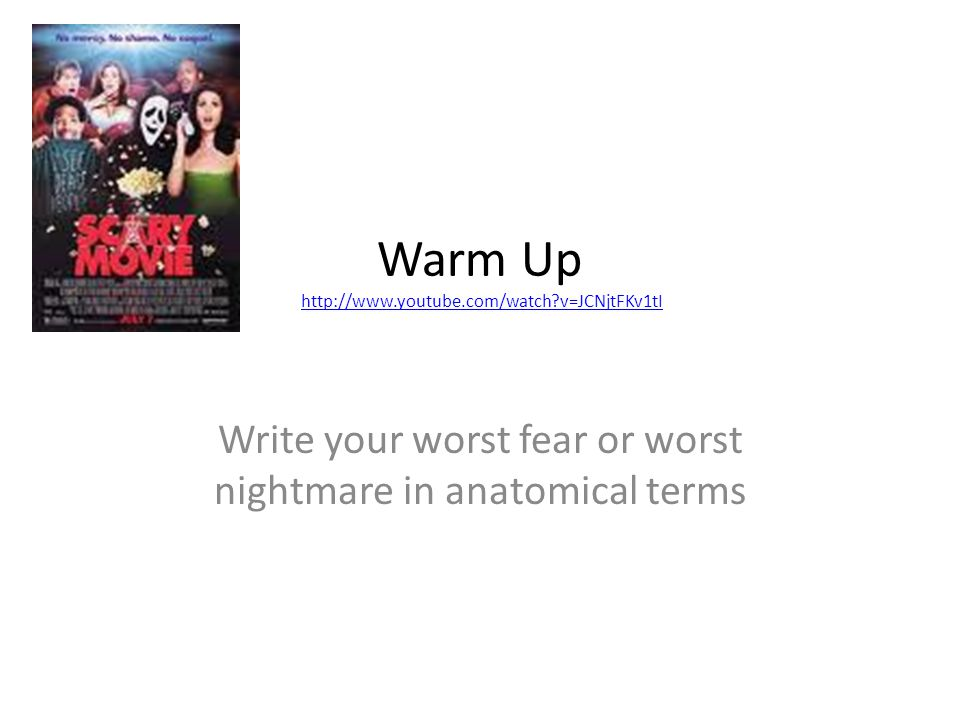 Warm Up   v=JCNjtFKv1tIhttp://  v=JCNjtFKv1tI Write your worst fear or worst nightmare in anatomical terms