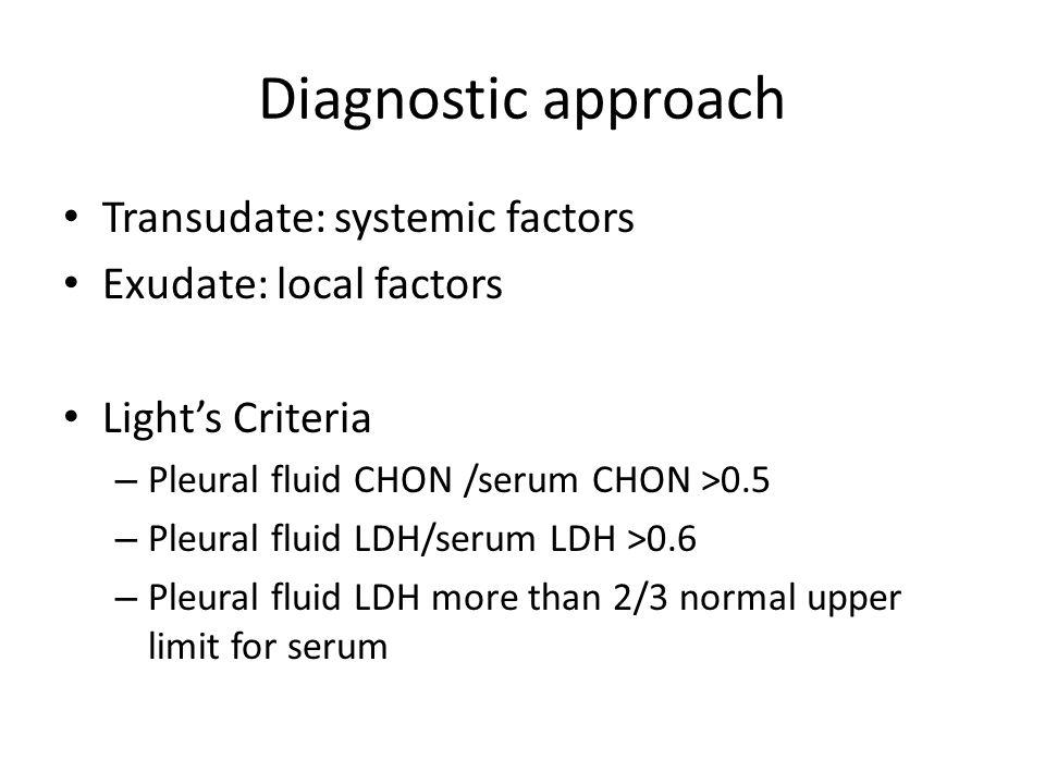 Diagnostic approach Transudate: systemic factors Exudate: local factors Light's Criteria – Pleural fluid CHON /serum CHON >0.5 – Pleural fluid LDH/ser