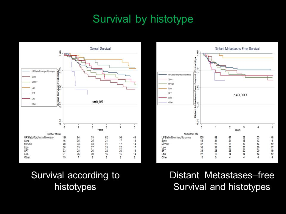 Survival by histotype Log-rank test p=0.04 Panel A (Log-rank test p=0.03) Survival according to histotypes p=0,05 p=0,003 Distant Metastases–free Survival and histotypes