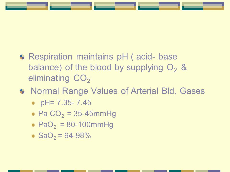 Respiration maintains pH ( acid- base balance) of the blood by supplying O 2 & eliminating CO 2. Normal Range Values of Arterial Bld. Gases pH= 7.35-