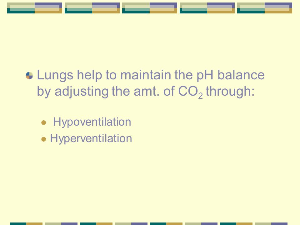 Lungs help to maintain the pH balance by adjusting the amt. of CO 2 through: Hypoventilation Hyperventilation