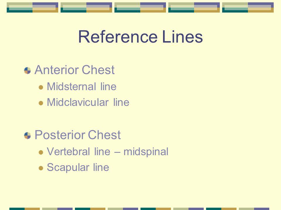 Reference Lines Anterior Chest Midsternal line Midclavicular line Posterior Chest Vertebral line – midspinal Scapular line