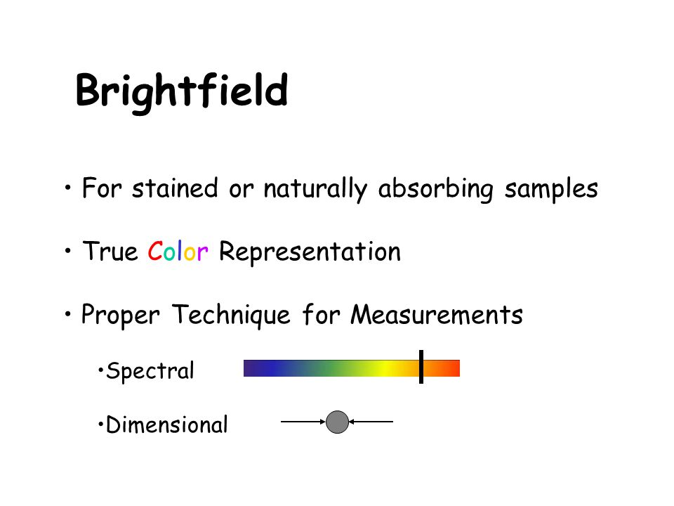 Brightfield For stained or naturally absorbing samples True Color Representation Proper Technique for Measurements Spectral Dimensional