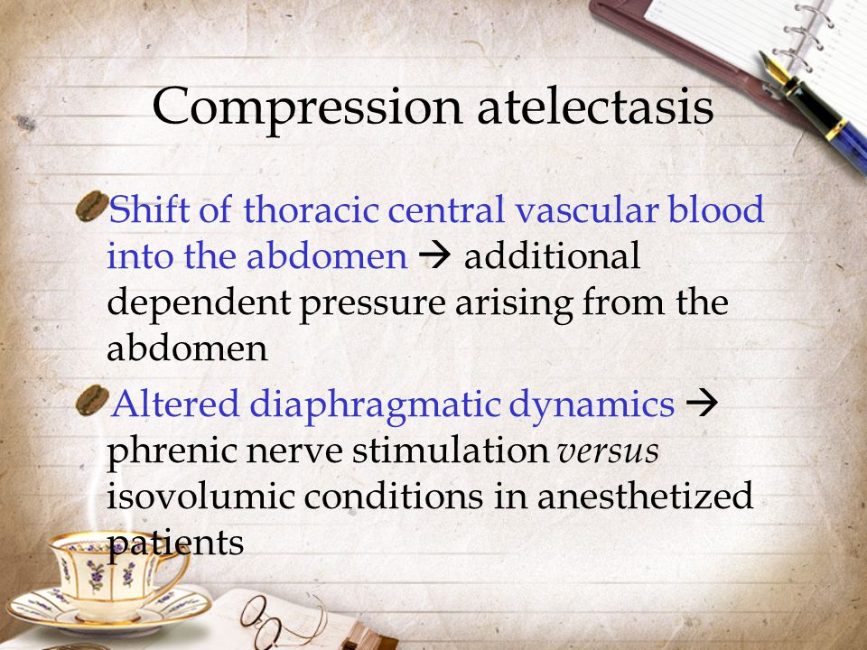 Compression atelectasis Shift of thoracic central vascular blood into the abdomen  additional dependent pressure arising from the abdomen Altered dia