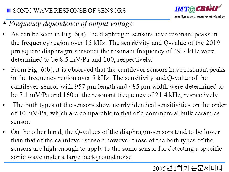 2005 년 1 학기 논문세미나 SONIC WAVE RESPONSE OF SENSORS As can be seen in Fig.