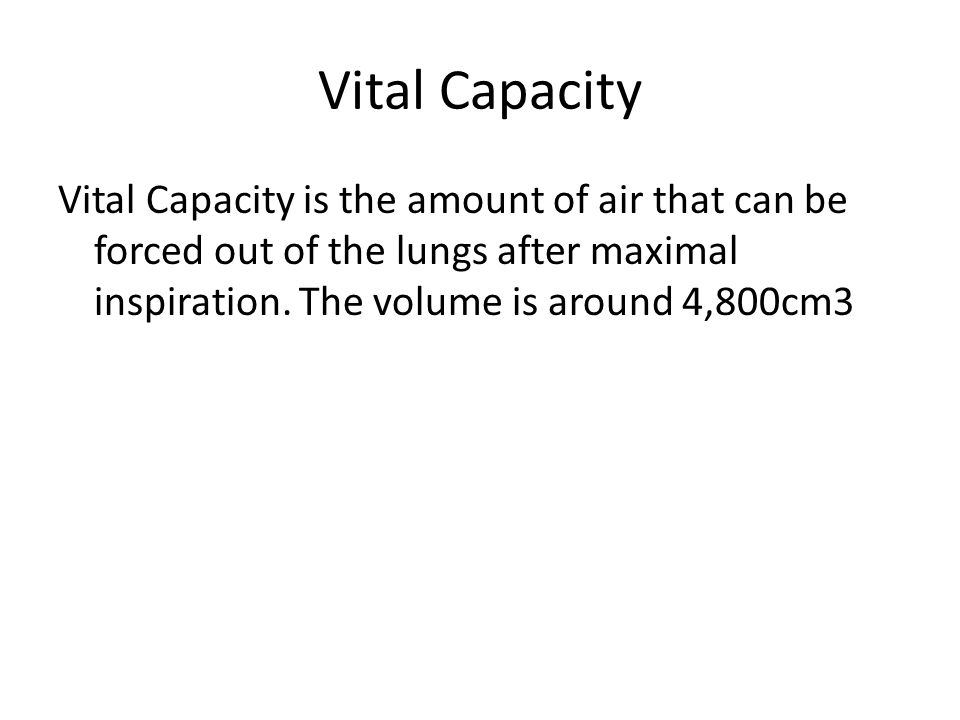 Mechanisms of Breathing The volume of air which you normally breathe in and out is called the tidal volume. This is normally about 500 cm 3 when you a