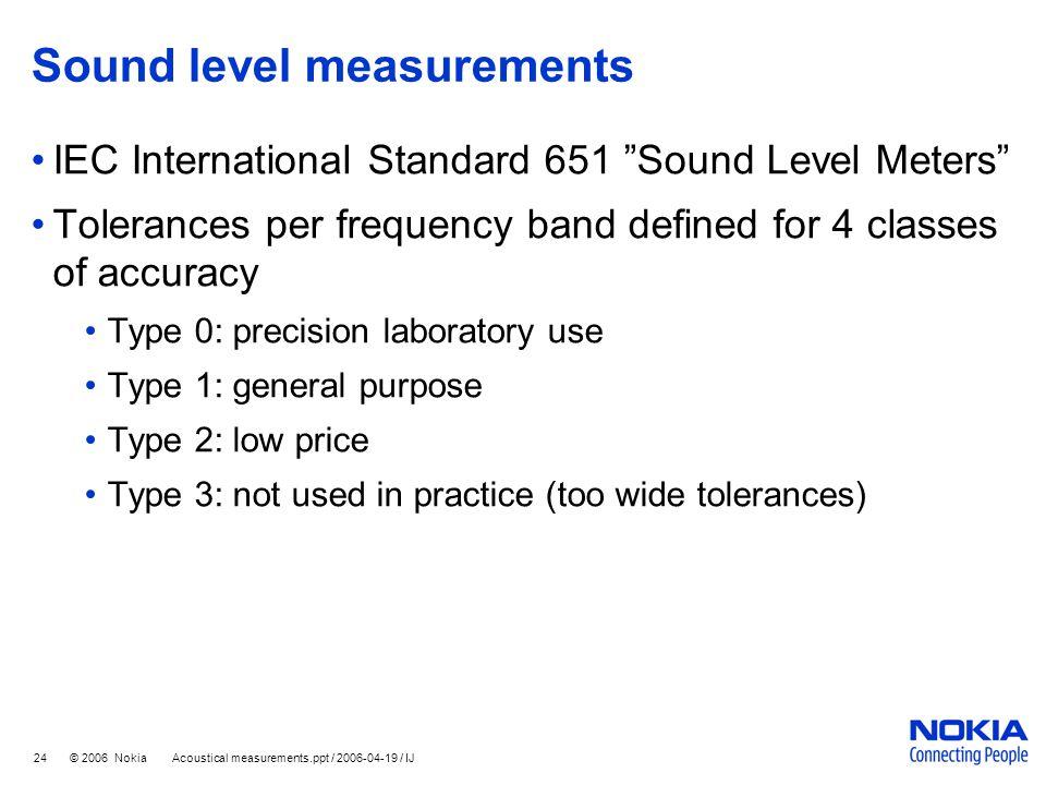 """24 © 2006 Nokia Acoustical measurements.ppt / 2006-04-19 / IJ Sound level measurements IEC International Standard 651 """"Sound Level Meters"""" Tolerances"""