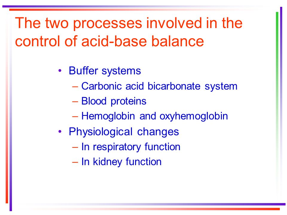 The acid-base balance limits performance because When exercise intensity increases beyond aerobic capacity, lactic acid becomes the end product of metabolism The body's ability to buffer lactic acid plays a large role in determining the end point of anaerobic activity