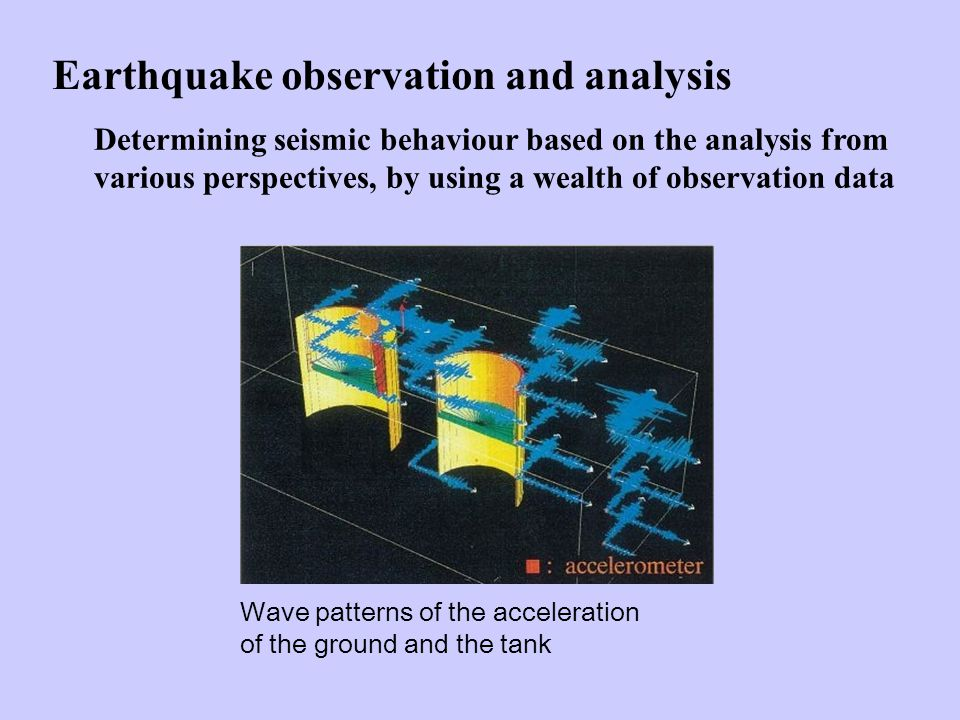Earthquake observation and analysis Determining seismic behaviour based on the analysis from various perspectives, by using a wealth of observation data Wave patterns of the acceleration of the ground and the tank