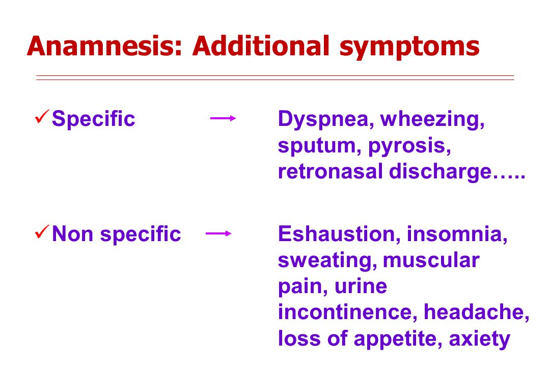 Anamnesis: Additional symptoms Specific Dyspnea, wheezing, sputum, pyrosis, retronasal discharge…..