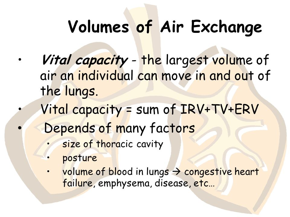 Volumes of Air Exchange Vital capacity - the largest volume of air an individual can move in and out of the lungs. Vital capacity = sum of IRV+TV+ERV