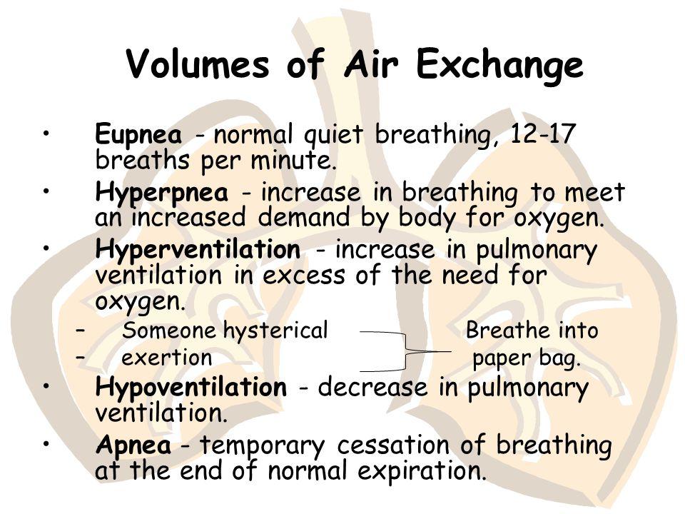 Volumes of Air Exchange Eupnea - normal quiet breathing, 12-17 breaths per minute. Hyperpnea - increase in breathing to meet an increased demand by bo