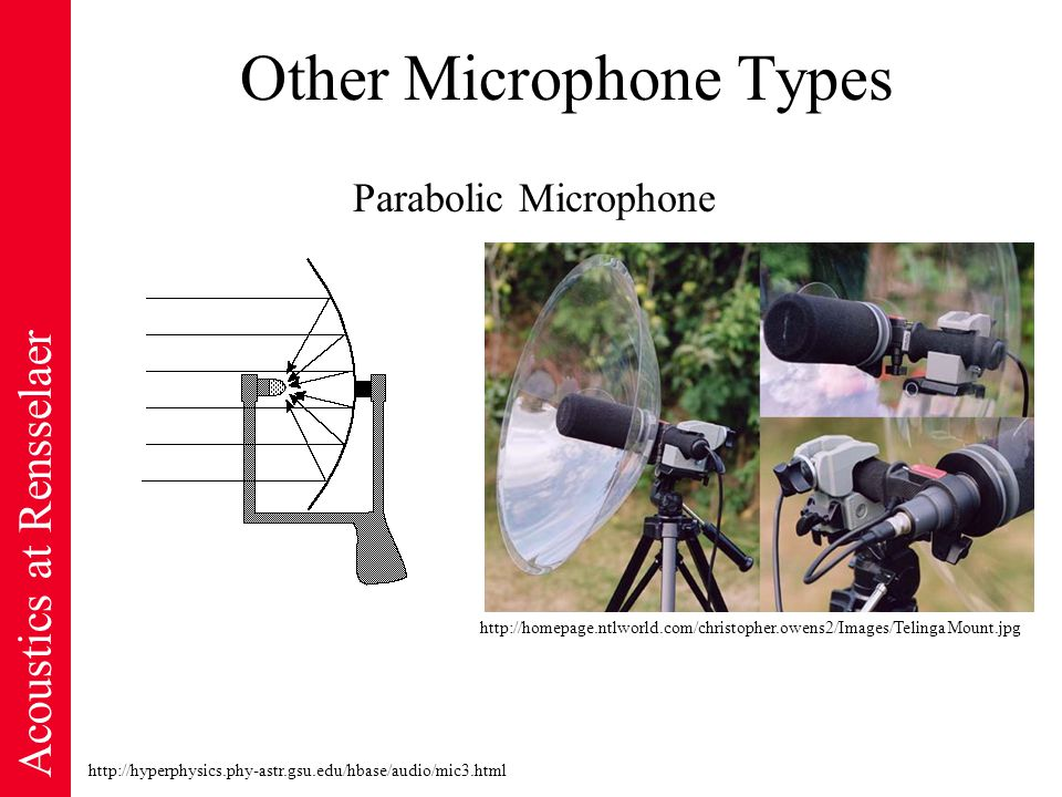 Acoustics at Rensselaer Other Microphone Types http://hyperphysics.phy-astr.gsu.edu/hbase/audio/mic3.html Parabolic Microphone http://homepage.ntlworld.com/christopher.owens2/Images/TelingaMount.jpg