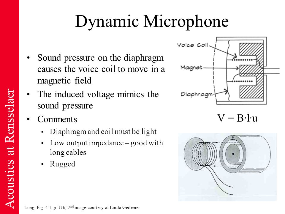 Acoustics at Rensselaer Condenser Microphone Diaphragm and back plate form a capacitor Incident sound waves move the diaphragm, change the separation distance, change the capacitance, create current Comments  Requires a DC polarizing voltage  High sensitivity  Flat frequency response  Fragile  High output impedance, nearby pre-amp is necessary Q = C·V C A/d