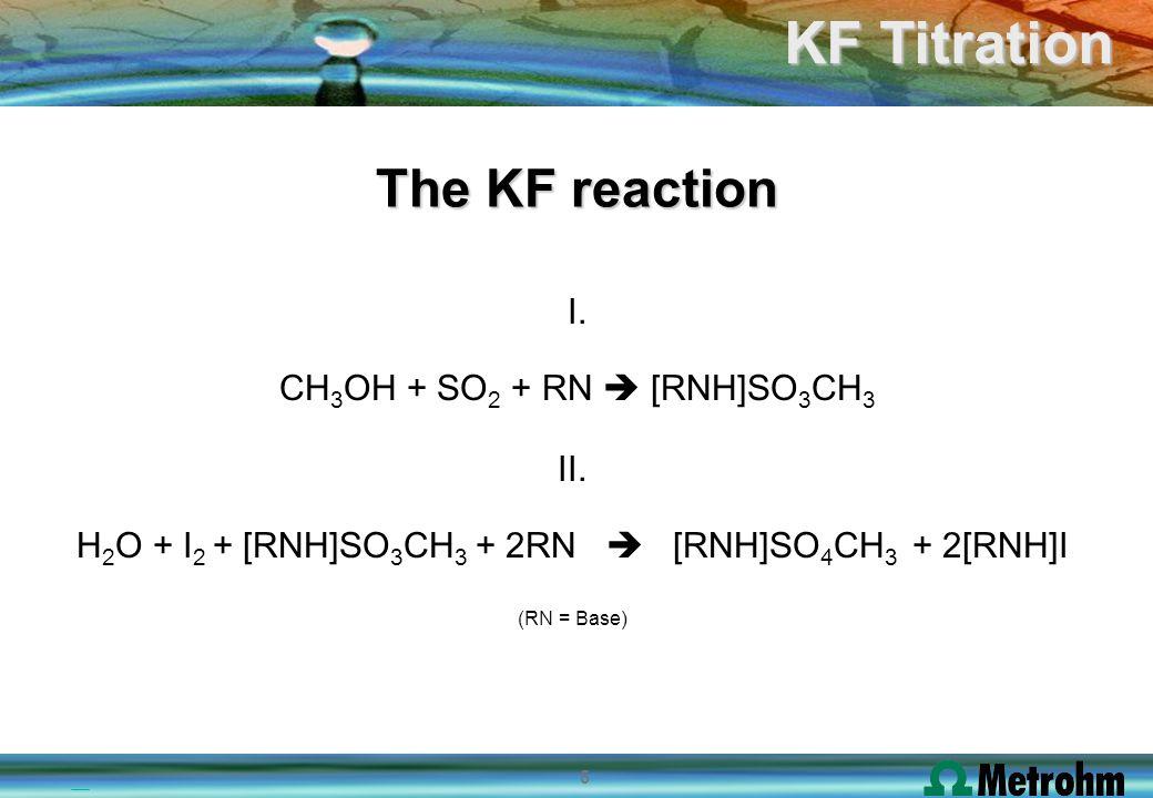 6 KF Titration Basic ingredients of KF reagents I2 I2 SO 2 Imidazole Methanol Iodine Sulphur dioxide Buffer Solvent