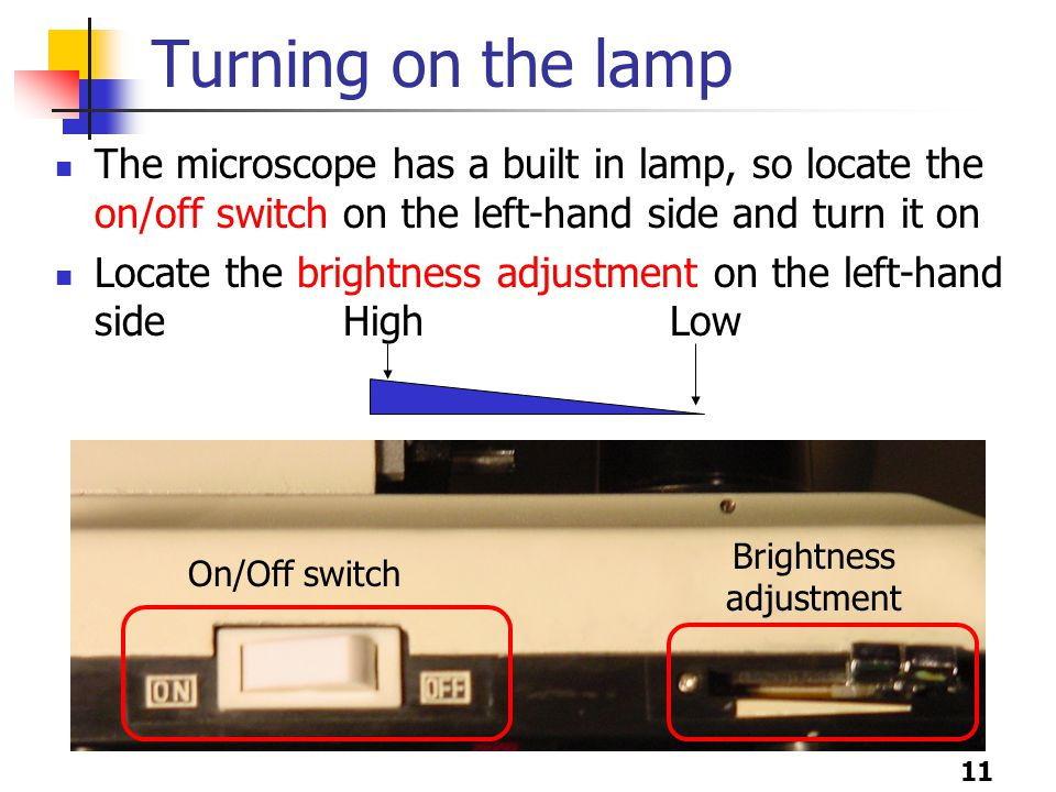 11 Turning on the lamp The microscope has a built in lamp, so locate the on/off switch on the left-hand side and turn it on Locate the brightness adjustment on the left-hand side High Low On/Off switch Brightness adjustment