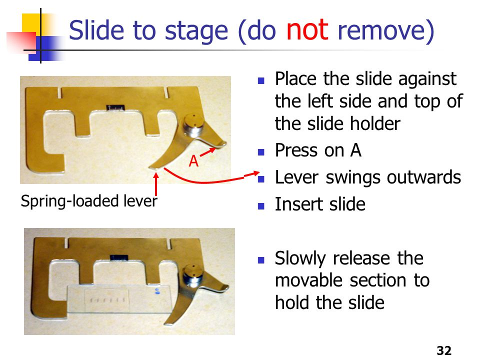 32 Slide to stage (do not remove) Place the slide against the left side and top of the slide holder Press on A Lever swings outwards Insert slide Slowly release the movable section to hold the slide Spring-loaded lever A