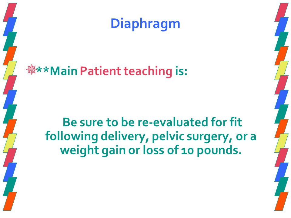 Diaphragm  **Main Patient teaching is: Be sure to be re-evaluated for fit following delivery, pelvic surgery, or a weight gain or loss of 10 pounds.