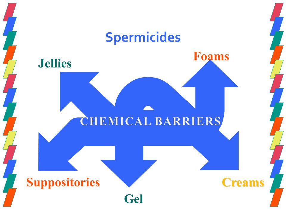 Spermicides Jellies Foams Creams Gel Suppositories