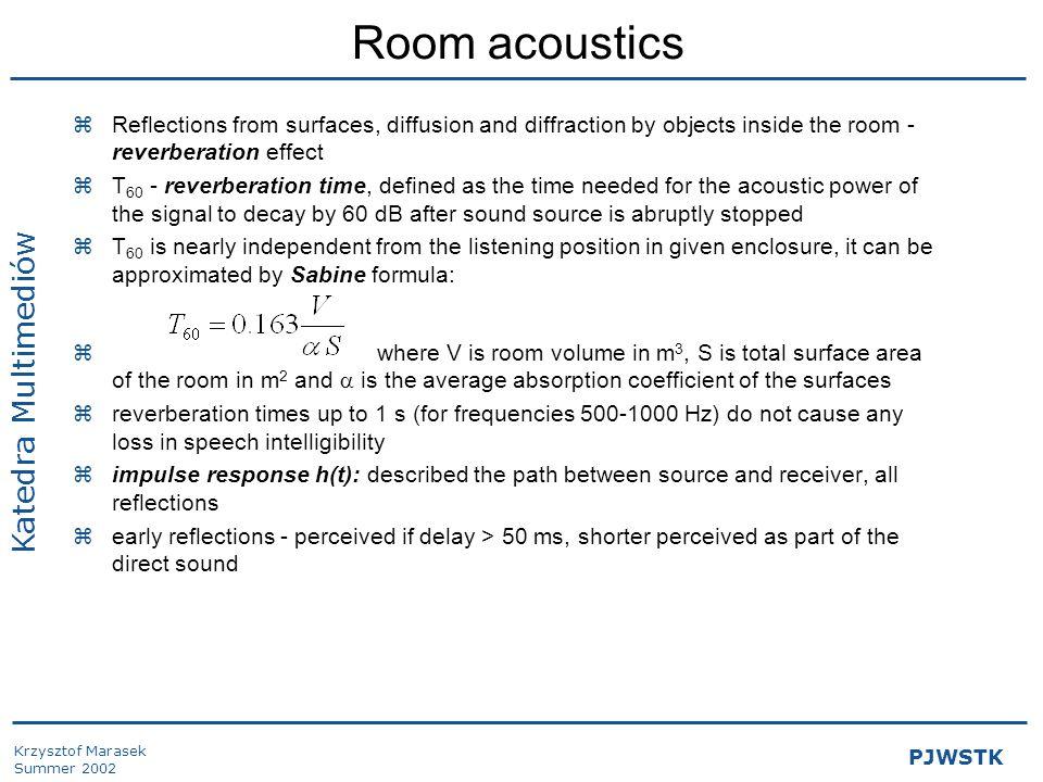 Krzysztof Marasek Summer 2002 Katedra Multimediów PJWSTK Room acoustics (2) zspeech intelligibility: Deutlichkeit index, centre of gravity, modulation index