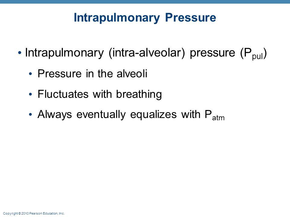 Copyright © 2010 Pearson Education, Inc. Intrapulmonary Pressure Intrapulmonary (intra-alveolar) pressure (P pul ) Pressure in the alveoli Fluctuates