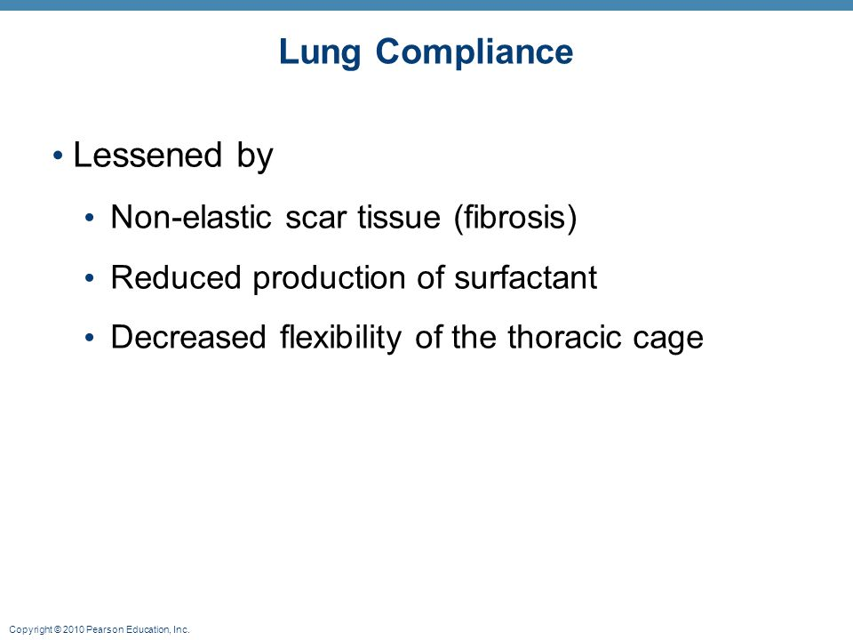 Copyright © 2010 Pearson Education, Inc. Lung Compliance Lessened by Non-elastic scar tissue (fibrosis) Reduced production of surfactant Decreased fle