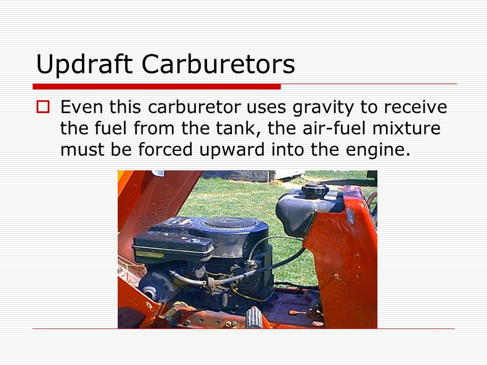 Updraft Carburetors  Even this carburetor uses gravity to receive the fuel from the tank, the air-fuel mixture must be forced upward into the engine.