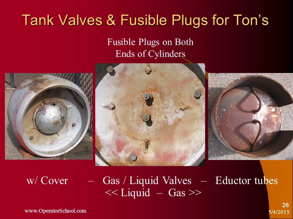 5/4/2015 www.OperatorSchool.com 26 Tank Valves & Fusible Plugs for Ton's Fusible Plugs on Both Ends of Cylinders w/ Cover – Gas / Liquid Valves – Eductor tubes >