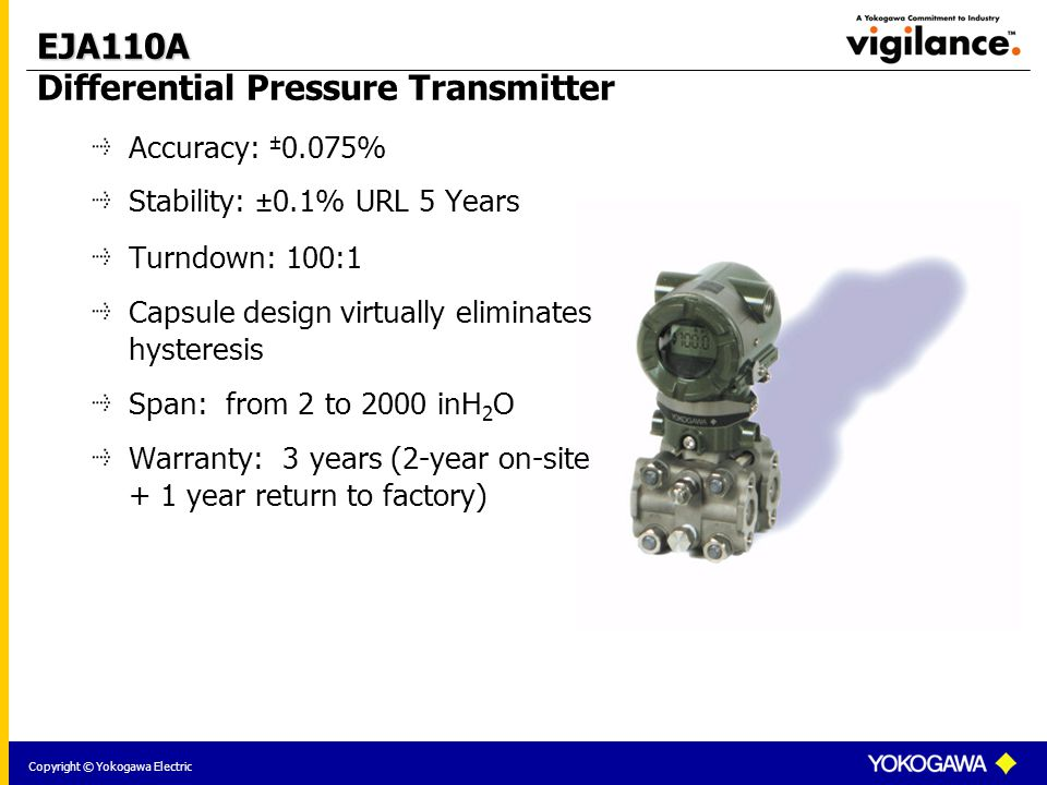 Copyright © Yokogawa Electric EJA110A EJA110A Differential Pressure Transmitter Accuracy: ± 0.075% Stability: ±0.1% URL 5 Years Turndown: 100:1 Capsule design virtually eliminates hysteresis Span: from 2 to 2000 inH 2 O Warranty: 3 years (2-year on-site + 1 year return to factory)