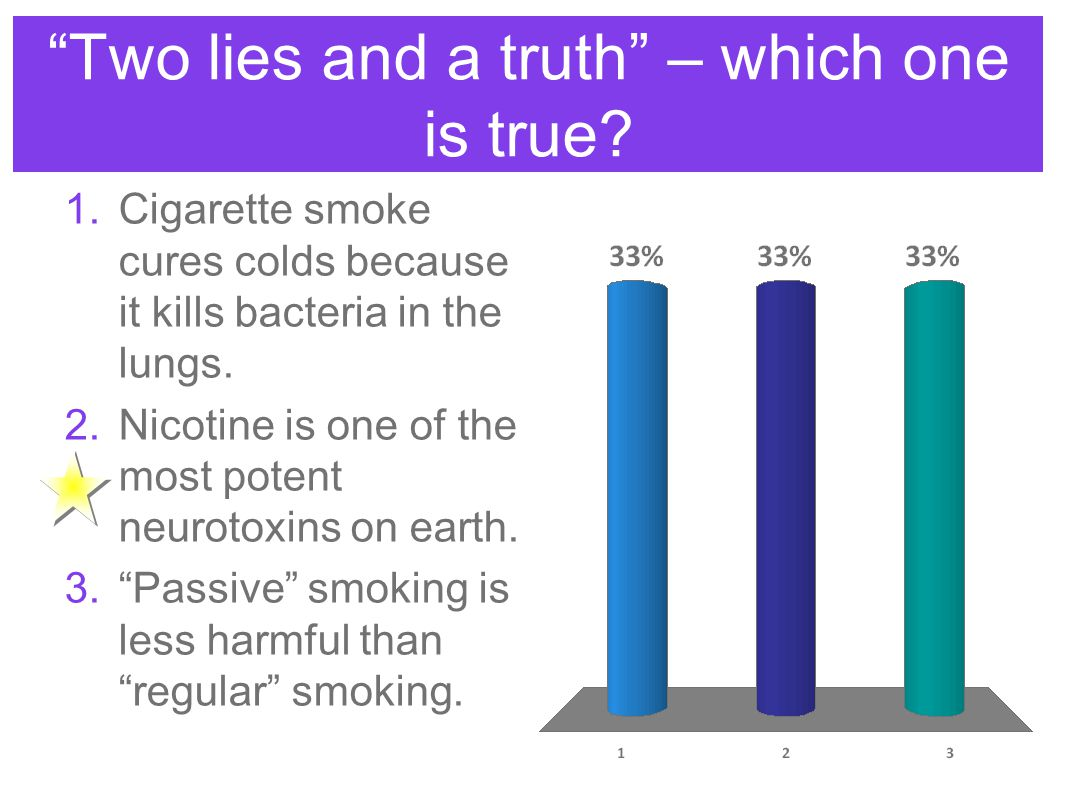 """""""Two lies and a truth"""" – which one is true? 1.Cigarette smoke cures colds because it kills bacteria in the lungs. 2.Nicotine is one of the most potent"""