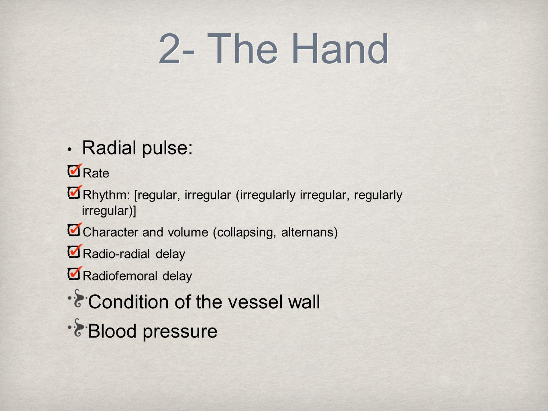 Radial pulse: Rate Rhythm: [regular, irregular (irregularly irregular, regularly irregular)] Character and volume (collapsing, alternans) Radio-radial