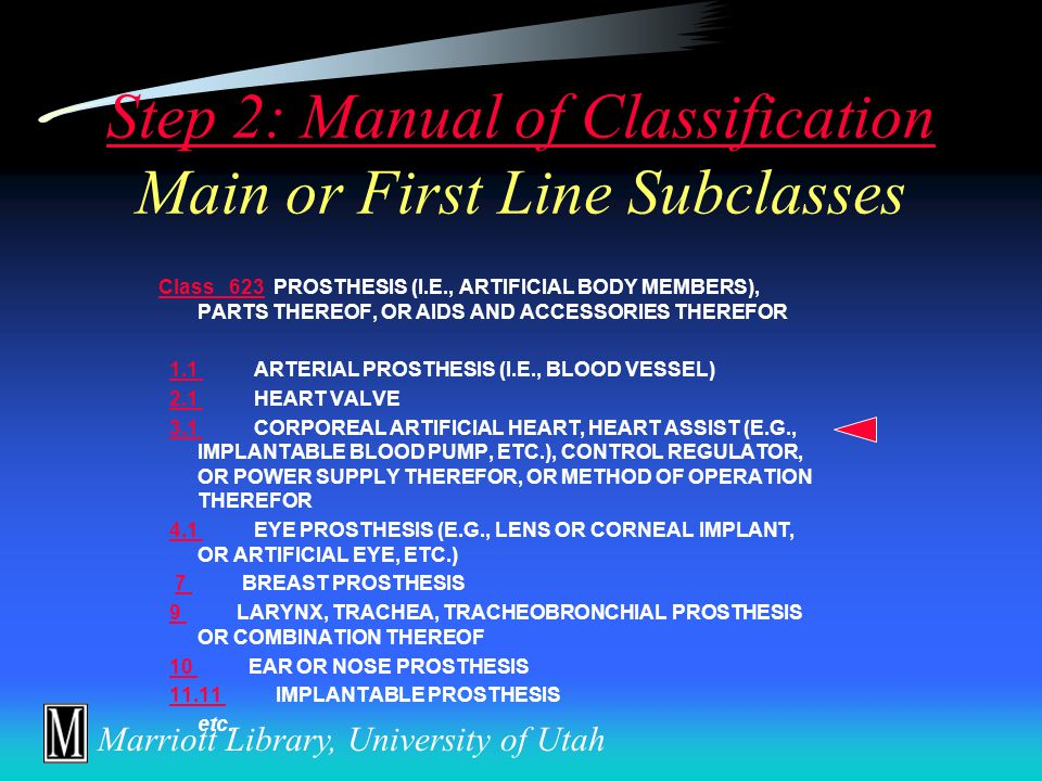 Marriott Library, University of Utah Step 2: Manual of Classification  Outline of all patentable technologies, arranged according to our current understanding of the art  Complete and current all U.S.