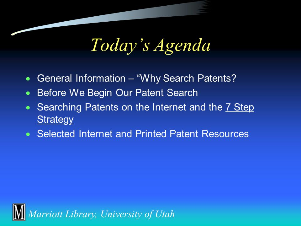 Introduction to Searching Bioengineering and Medical Patents on the Internet Dave Morrison Documents and Patent Librarian Documents and Microforms Division, Marriott Library University of Utah 801/581-8394 dave.morrison@library.utah.edu