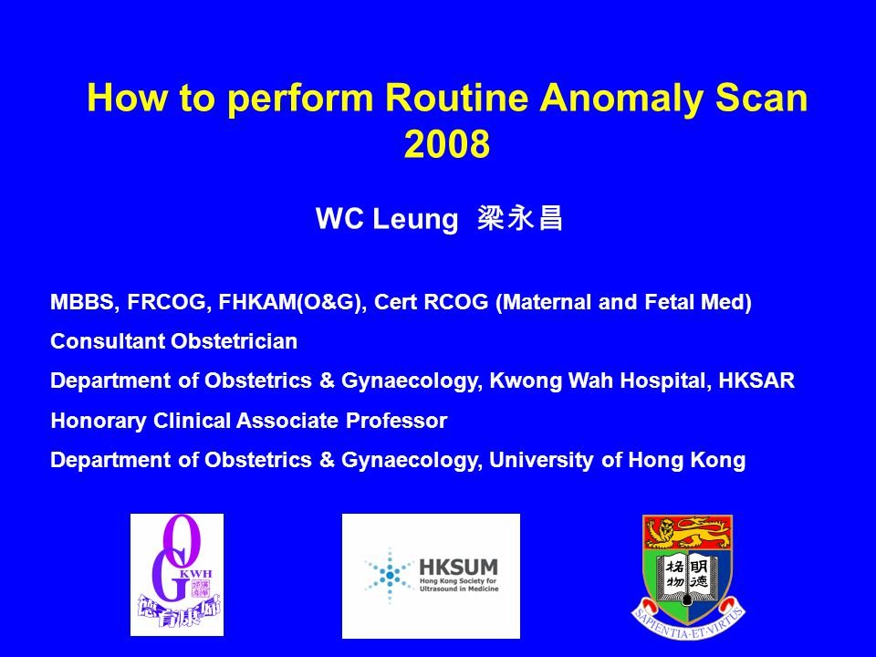 How to perform Routine Anomaly Scan 2008 WC Leung 梁永昌 MBBS, FRCOG, FHKAM(O&G), Cert RCOG (Maternal and Fetal Med) Consultant Obstetrician Department o