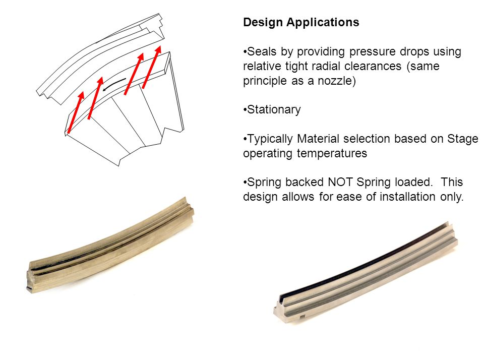 Design Applications Seals by providing pressure drops using relative tight radial clearances (same principle as a nozzle) Stationary Typically Materia