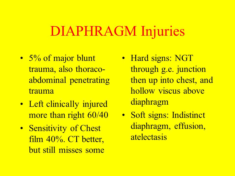 DIAPHRAGM Injuries 5% of major blunt trauma, also thoraco- abdominal penetrating trauma Left clinically injured more than right 60/40 Sensitivity of C